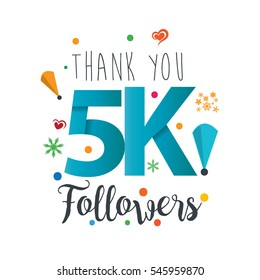 Thank you design template for social network and follower. Web user celebrates a large number of subscribers or followers. 5K Followers