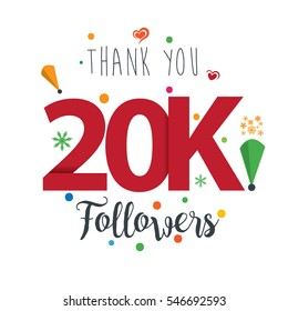 Thank you design template for social network and follower. Web user celebrates a large number of subscribers or followers. 20K Followers
