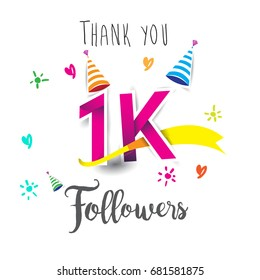 Thank you design template for social network and follower. Web user celebrates a large number of subscribers or followers. Thanks for 1k followers
