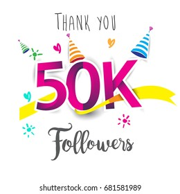 Thank you design template for social network and follower. Web user celebrates a large number of subscribers or followers. Thanks for 50k followers