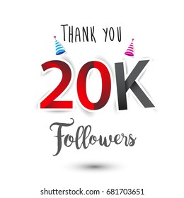Thank you design template for social network and follower. Web user celebrates a large number of subscribers or followers. Thanks for 20k followers
