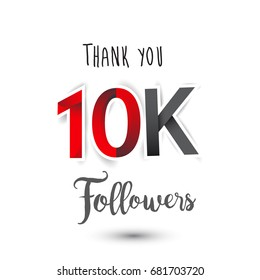 Thank you design template for social network and follower. Web user celebrates a large number of subscribers or followers. Thanks for 10K followers