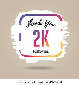Thank you design template for social network and follower. 2K Followers