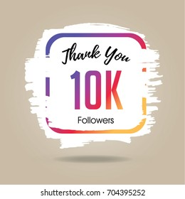 Thank you design template for social network and follower. 10K Followers