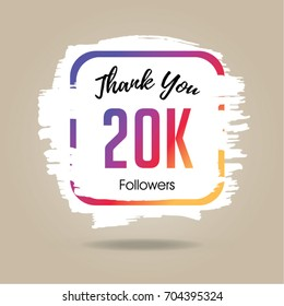 Thank you design template for social network and follower. 20K Followers