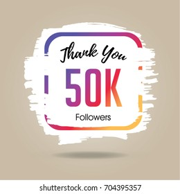 Thank you design template for social network and follower. 50K Followers