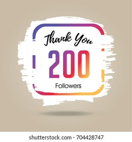 Thank you design template for social network and follower. 200 Followers