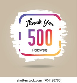 Thank you design template for social network and follower. 500 Followers