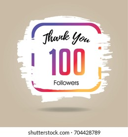 Thank you design template for social network and follower. 100 Followers