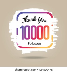 Thank you design template for social network and follower. 10000 Followers