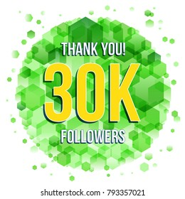 Thank you design template for social network and follower. 30K Followers