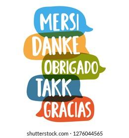 Thank you in different languages. Mersi, danke, obrigado, takk, gracias. Social network or bilingual translation concept. Vector hand drawn, lettering illustration on white background.