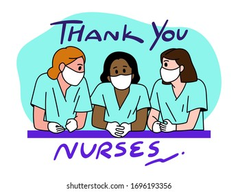 Thank you doctor and Nurses and medical personnel team for fighting the coronavirus. Thank you Health heroes, vector illustration