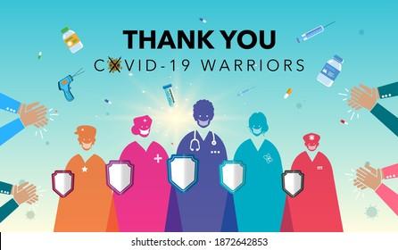 Thank you Doctors. corona warriors. Life Saviours. scientist, nurse and medical team, helpers, life saviors, warriors, Nurse, medical team and Covid 19 warriors Vector illustration