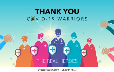 Thank you Doctors. Life Saviours. scientist, nurse and medical team. helpers, life saviors, warriors and Polish. People clapping and appreciating, Corona Covid 19 warriors