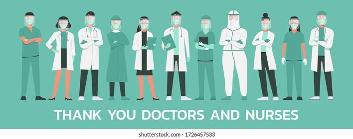 thank you, doctors and nurses concept. medical staff wearing protective suit, goggle, face shield, surgical face mask and n95 respirator standing together to fight COVID-19, flat vector illustration