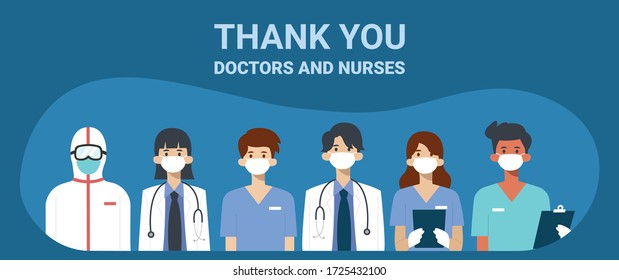 Thank you doctors and nurses, Illustration of doctors and nurses characters wearing masks. Vector flat style