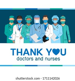 Thank you to the doctors and nurses for their help and saved lives. Vector illustration.