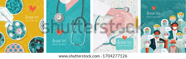 Thank you doctors and nurses. Vector illustration for the epidemic of coronavirus covidum-19. Drawings of vaccine, virus, laboratory, hands, doctor, nurse, and stethoscope for poster or cover