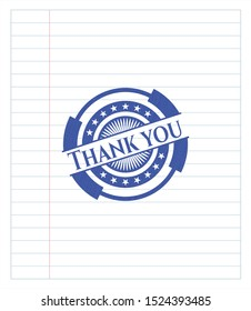 Thank you emblem drawn with pen. Blue ink. Vector Illustration. Detailed.