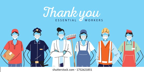 thank you essential workers, various occupations people wearing face masks vector illustration design