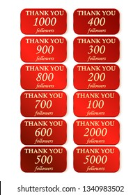 Thank you followers 100 200 300 400 600 700 800 900