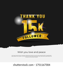 Thank you followers 15k black background design isolated vector eps 10