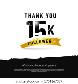 Thank you followers 15k white background design isolated vector eps 10