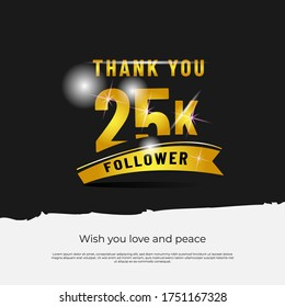 Thank you followers 25k black background design isolated vector eps 10