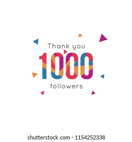 Thank you followers banner, vector illustration