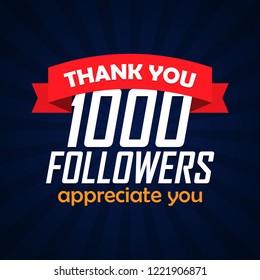 Thank you followers congratulation background. Vector illustration.