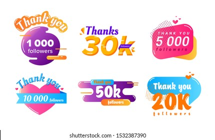 Thank You Followers Counter Banners Set. Posters Tags Stickers in Colorful Memphis Style with Typography, Heart and Halftone Elements. Icon Balloons with Quote Messages. Cartoon Vector Illustration
