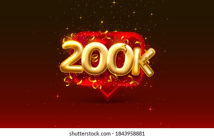 Thank you followers peoples, 200k online social group, happy banner celebrate, Vector illustration