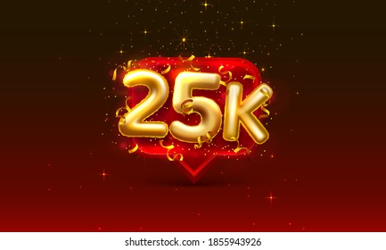 Thank you followers peoples, 25k online social group, happy banner celebrate, Vector illustration