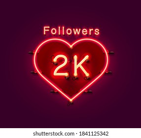 Thank you followers peoples, 2k online social group, neon happy banner celebrate, Vector illustration