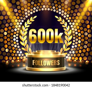 Thank you followers peoples, 600k online social group, happy banner celebrate, Vector illustration