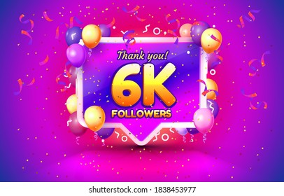 Thank you followers peoples, 6k online social group, happy banner celebrate, Vector illustration