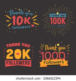 thank you followers vector banner flat illustration