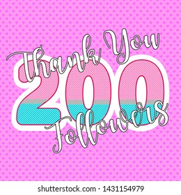 Thank you followers. Vector watercolor illustration eps10