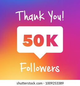 Thank you for following poster, banner design illustration. For social network accounts promotions and appriciation events. Trendy gradient colors.