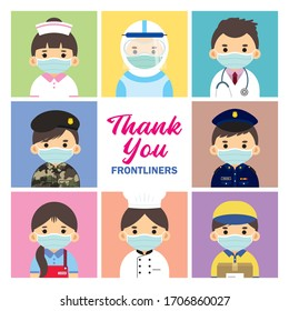 Thank you Frontline workers who work during coronavirus (covid-19) outbreak. Cartoon nurse, medical staff, doctor, military personnel, police, essential retailer, cook & food server, couriers.