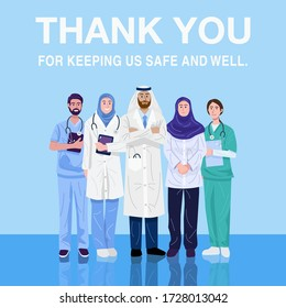 Thank you frontliners, Illustration of Middle-Eastern doctors and nurses. Vector