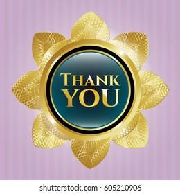 Thank you gold shiny emblem