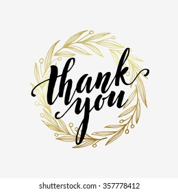 Thank you golden  lettering design. Vector illustration EPS10