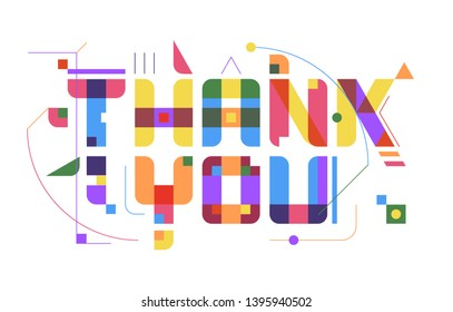 THANK YOU Greeting Card – A postcard design with Colorful funky letters and abstract shapes