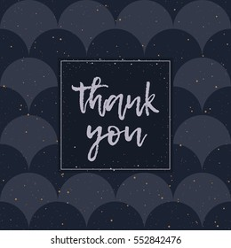 Thank You greeting card. Silver lettering and texture. Abstract japanase pattern. Black and white colors. Vector illustration.