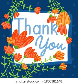 Thank you hand drawn card Trendy square banner. Templates with doodle floral elements. For social media posts, web background Vector illustration