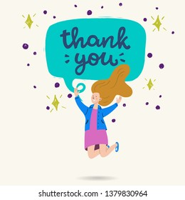 Thank You hand drawn lettering message in a speech bubble with jumping girl. Cartoon flat style vector illustration with handwritten phrase. Comic image of young long haired woman expressing thanks