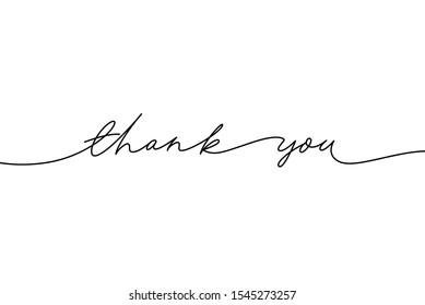 Thank you hand drawn vector modern calligraphy. Thank you handwritten ink illustration, dark brush pen line lettering isolated on white background. Usable for greeting cards, poster, banners, gifts
