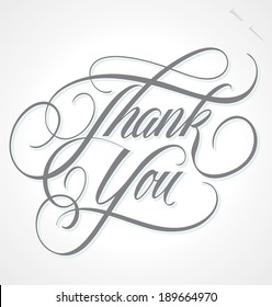 THANK YOU hand lettering -- custom handmade calligraphy, vector (eps8)